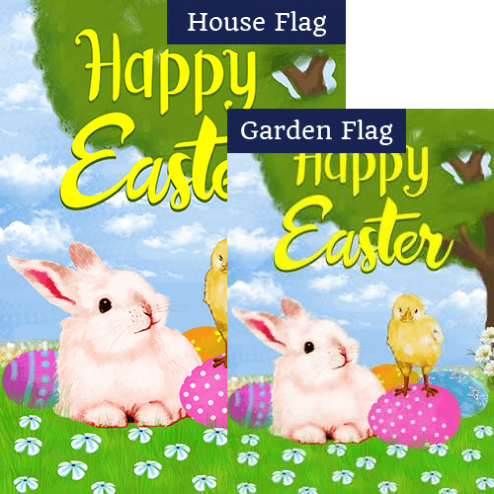 Bunny and Chick Easter Buddies Double Sided Flags Set (2 Pieces)