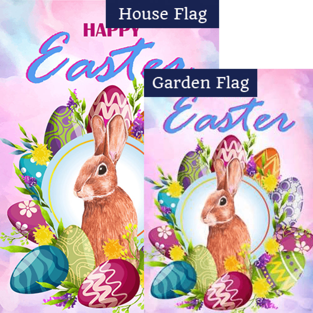 Egg-cellent Easter Wreath Bunny Double Sided Flags Set (2 Pieces)