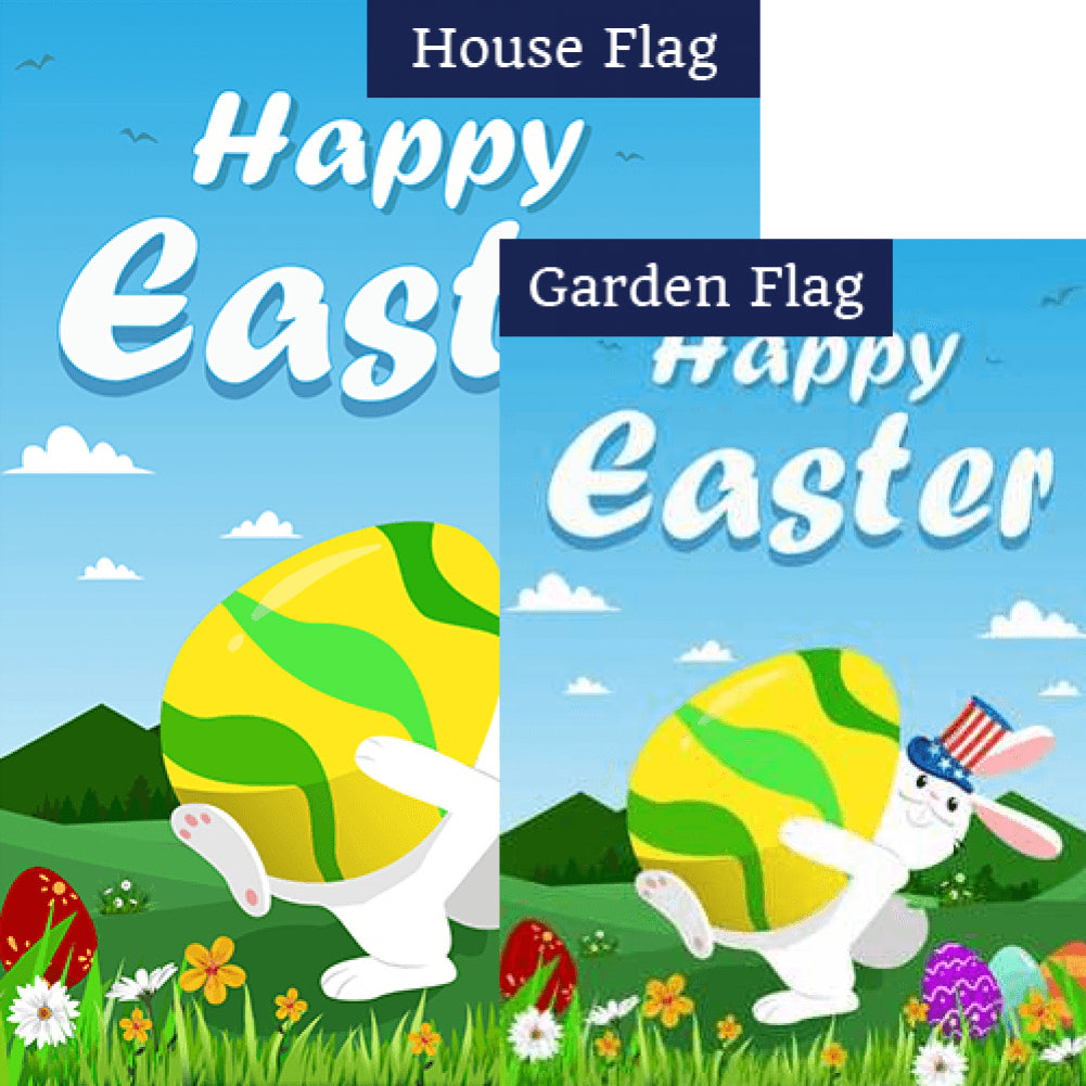American Easter Bunny Double Sided Flags Set (2 Pieces)