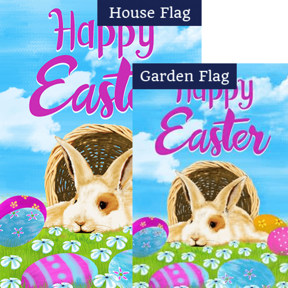 Happy Easter Basket Bunny Double Sided Flags Set (2 Pieces)