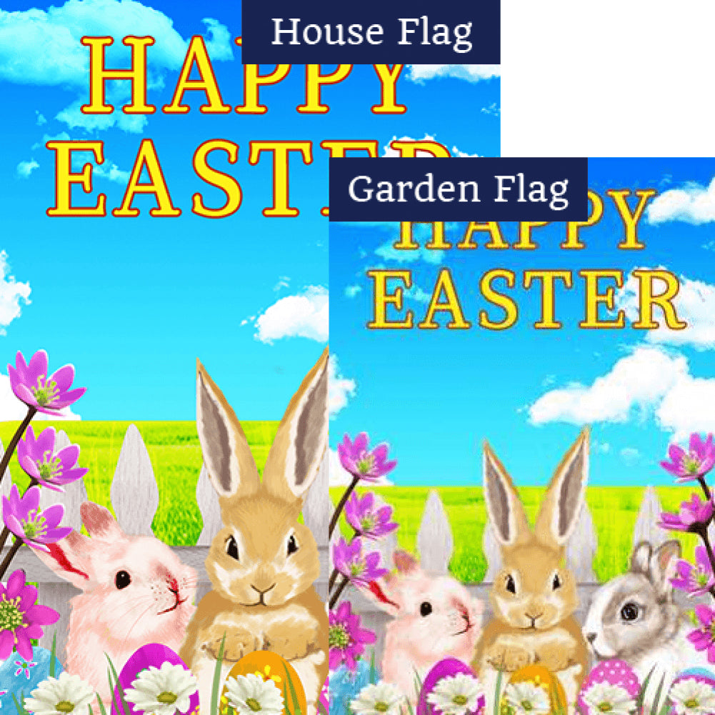 Easter Bunny Meeting Double Sided Flags Set (2 Pieces)