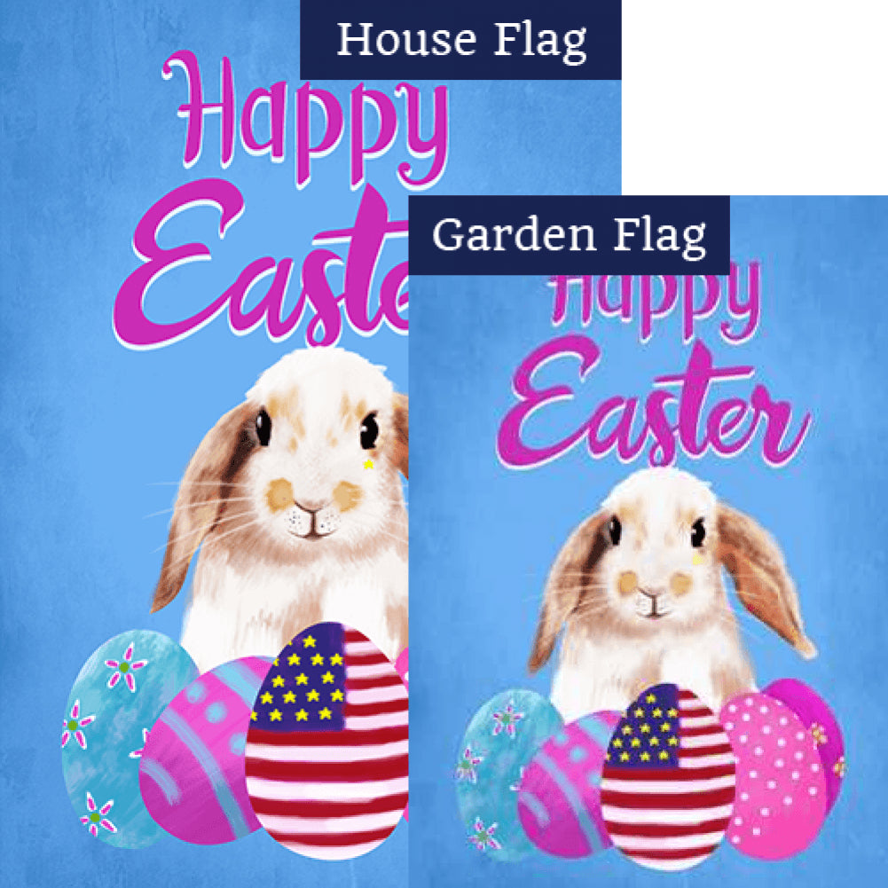 Patriotic Easter Bunny Double Sided Flags Set (2 Pieces)