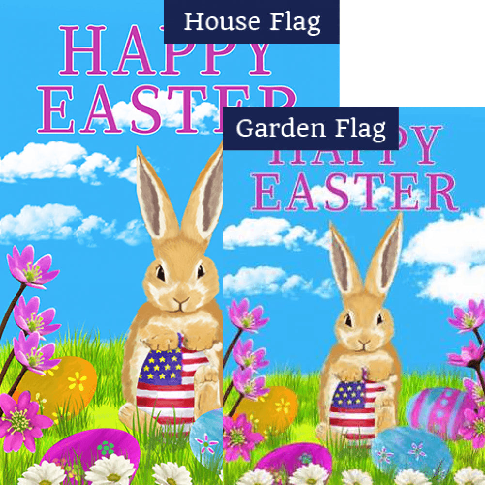 Patriotic Easter Egg Double Sided Flags Set (2 Pieces)