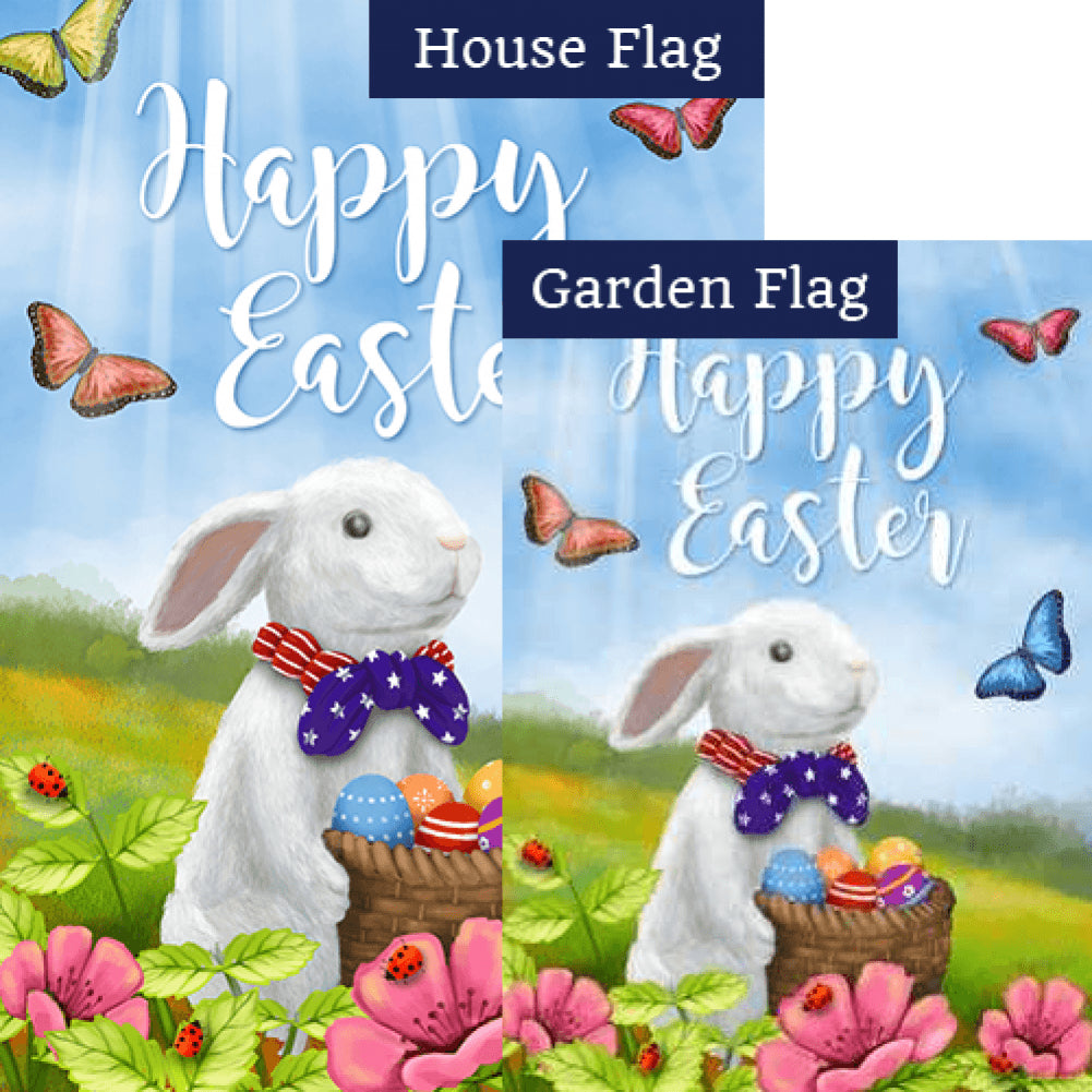 Easter Bunny with Patriotic Tie Double Sided Flags Set (2 Pieces)
