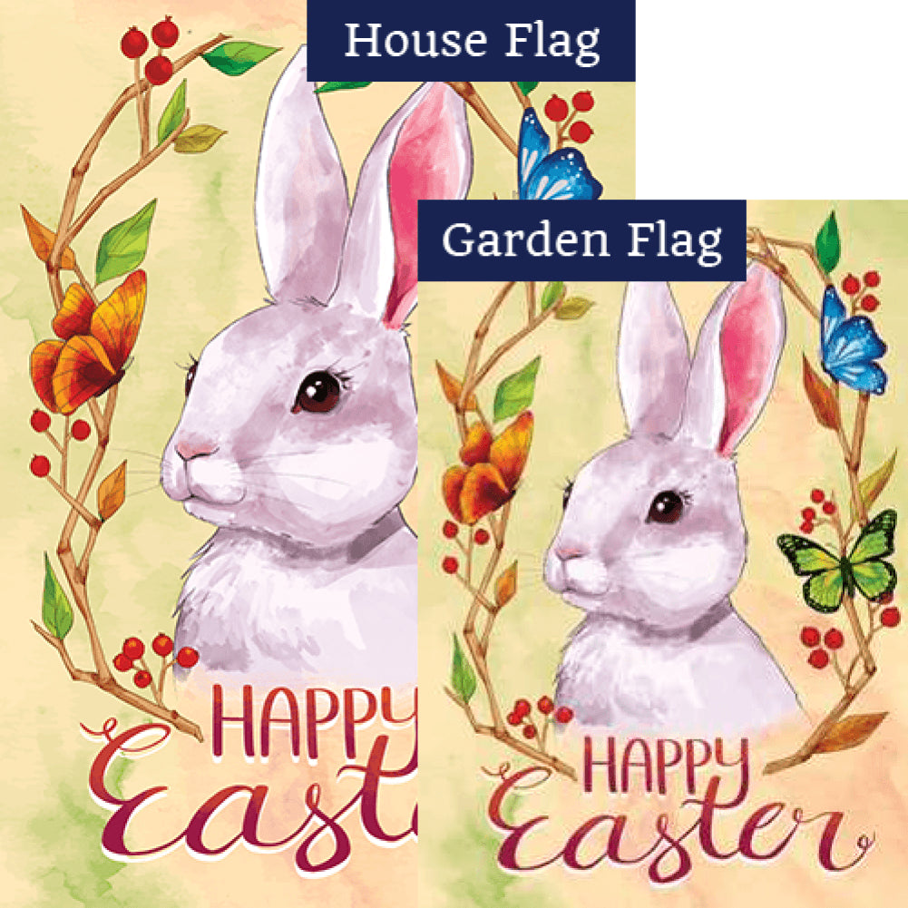 Watercolor Easter Bunny Double Sided Flags Set (2 Pieces)