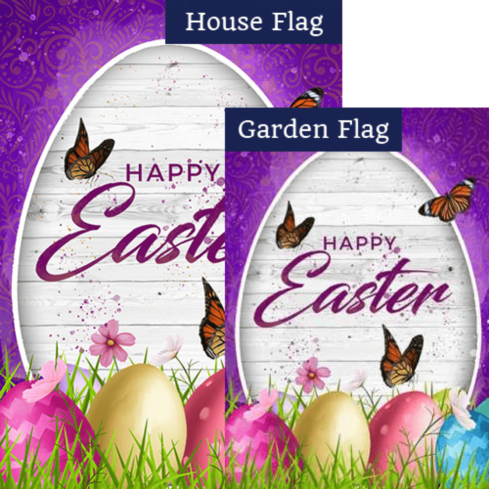 Wood Grain Easter Wishes Double Sided Flags Set (2 Pieces)