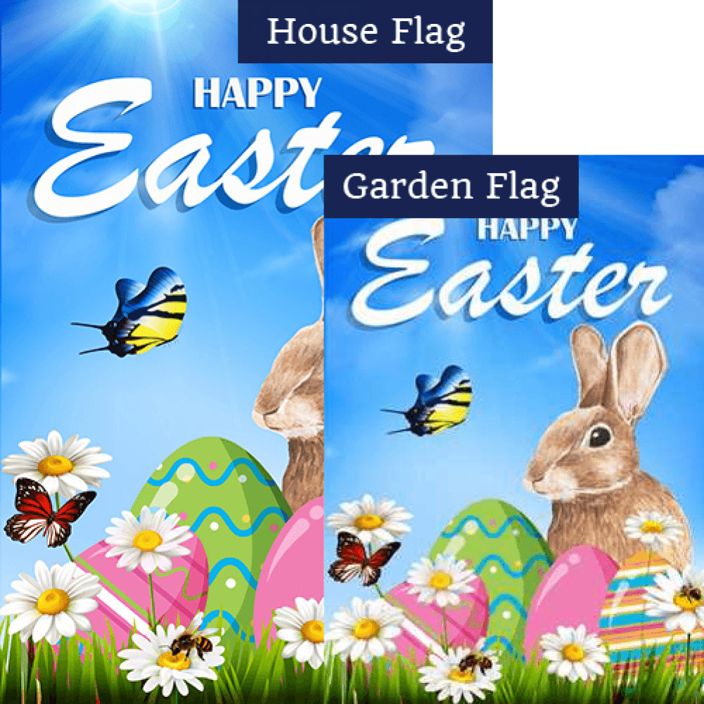 Happy Easter Bunny Double Sided Flags Set (2 Pieces)