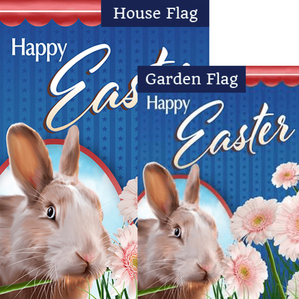 Realistic Easter Bunny Double Sided Flags Set (2 Pieces)