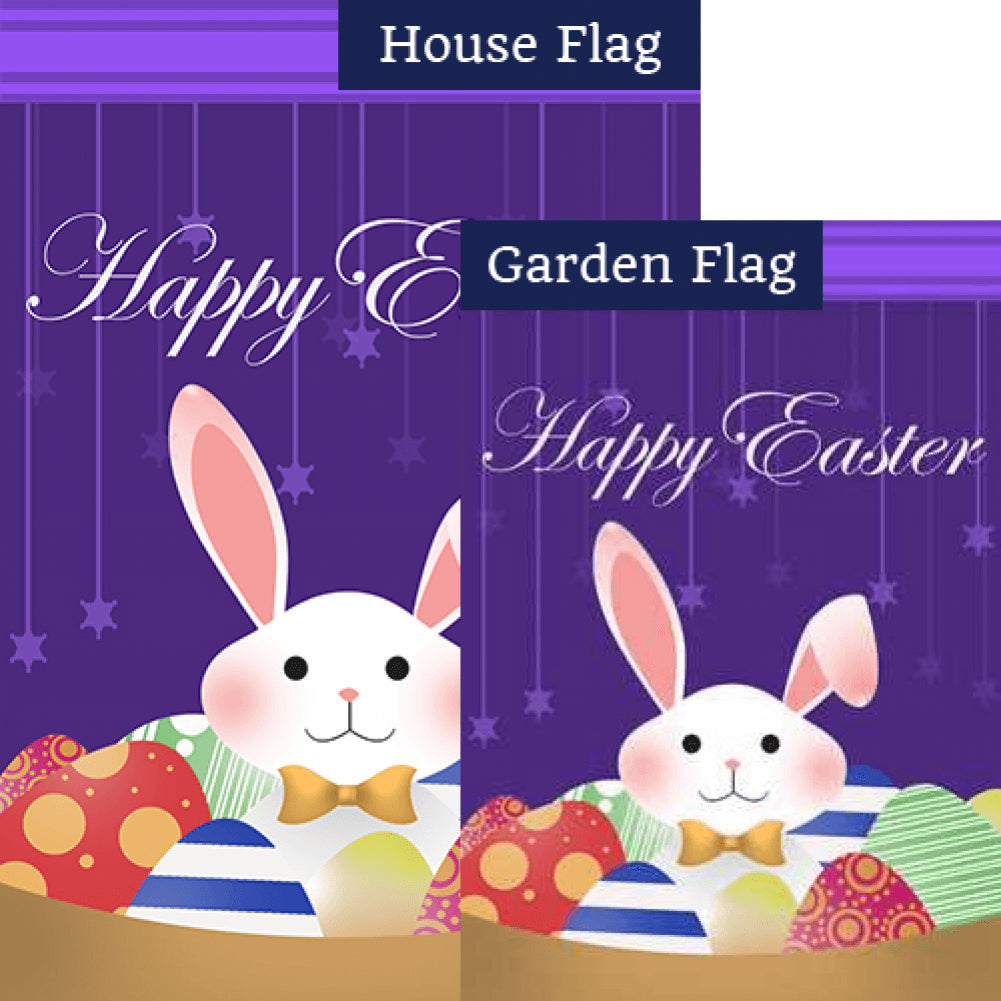 Happy Easter Cartoon Bunny Double Sided Flags Set (2 Pieces)