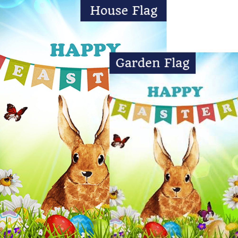 Happy Easter Banner Double Sided Flags Set (2 Pieces)