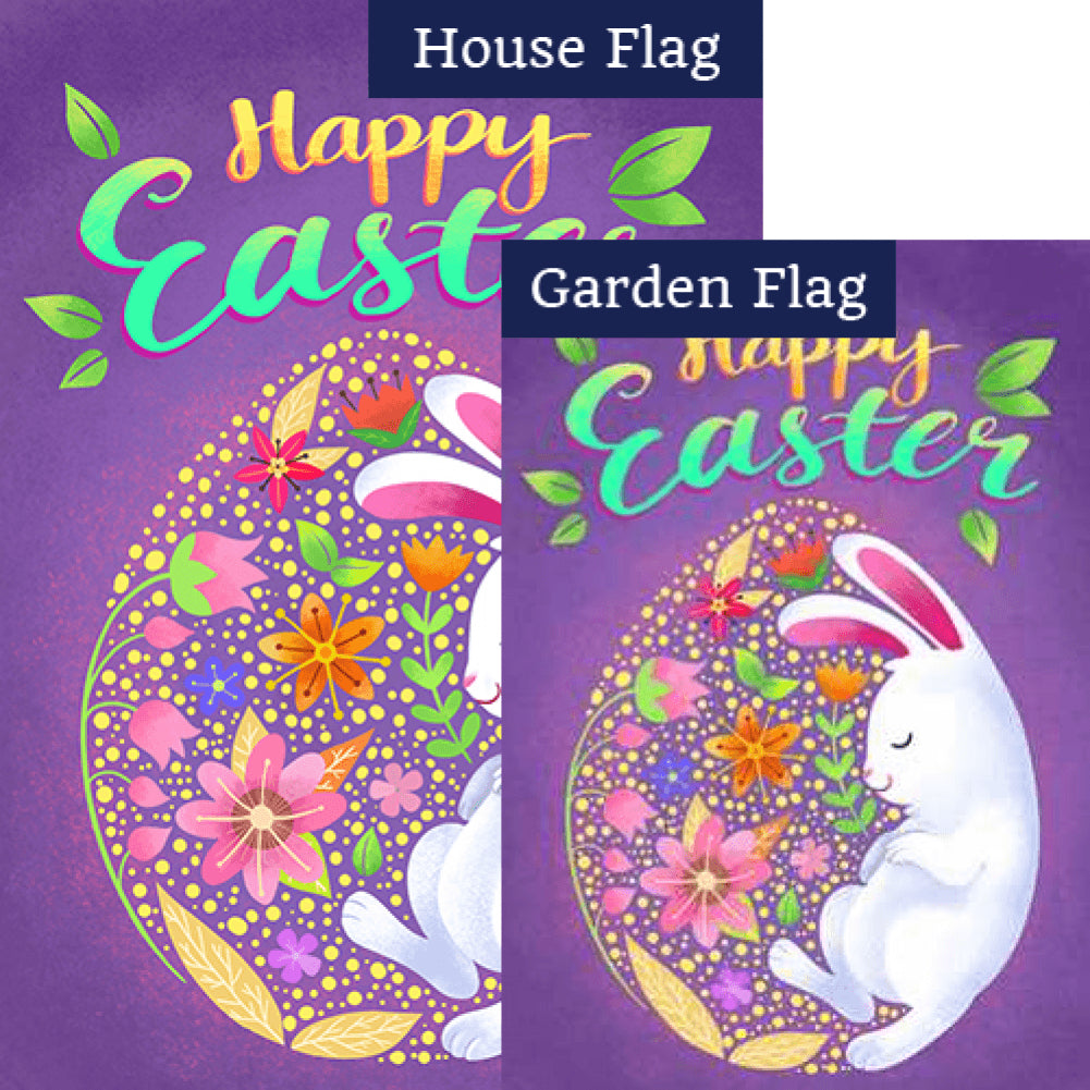 Sleepy Easter Bunny Double Sided Flags Set (2 Pieces)