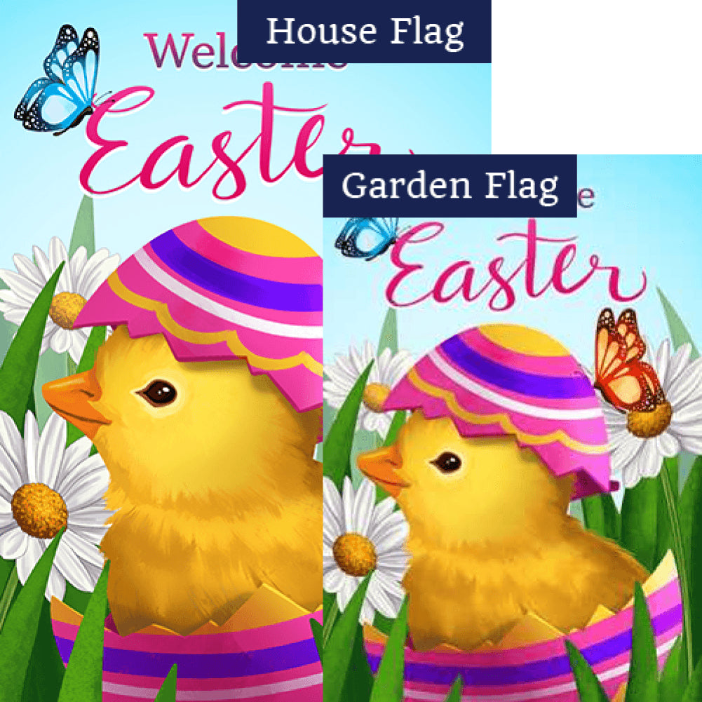 Easter Chick and Butterflies Double Sided Flags Set (2 Pieces)