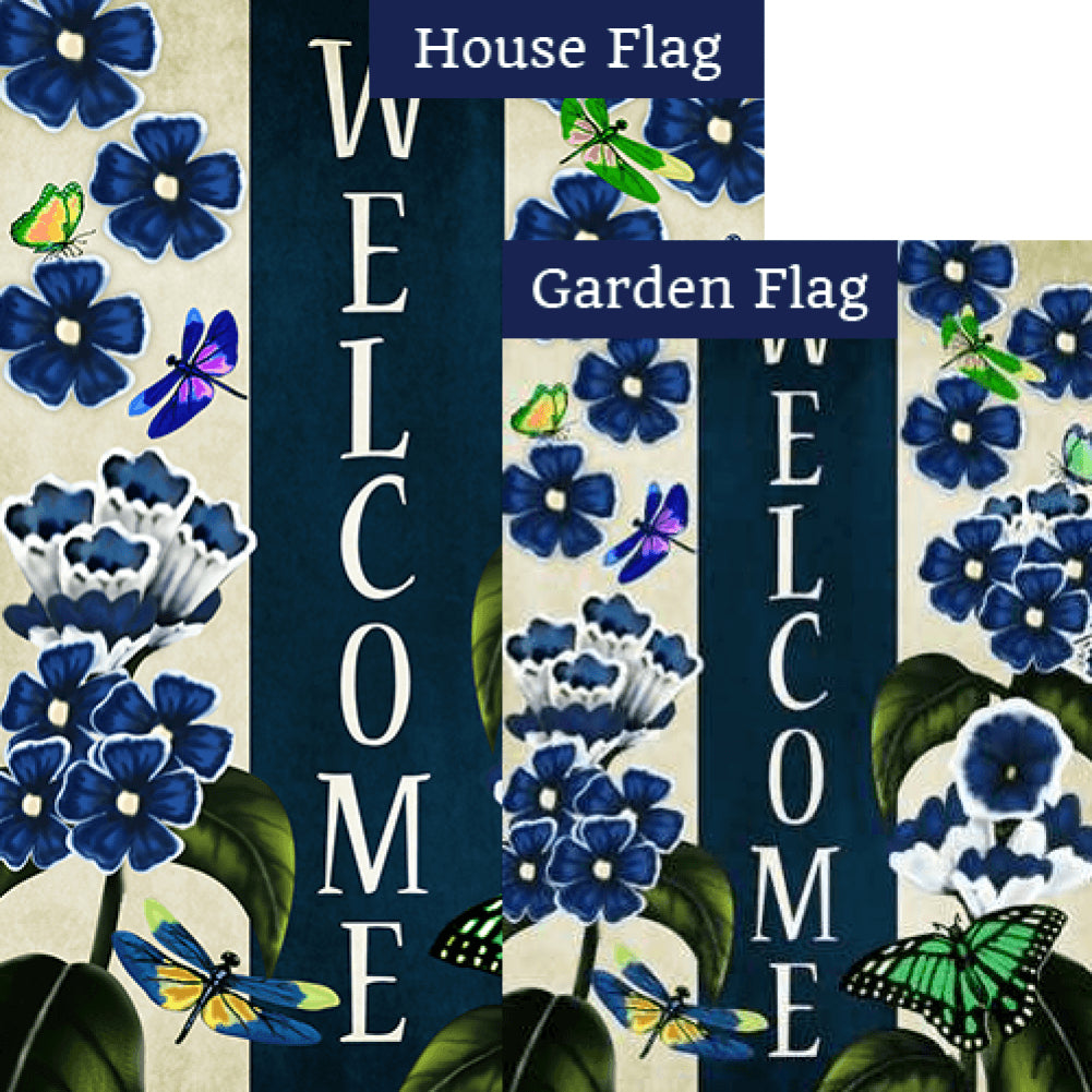 Blue Welcome Flowers Flags Set (2 Pieces)