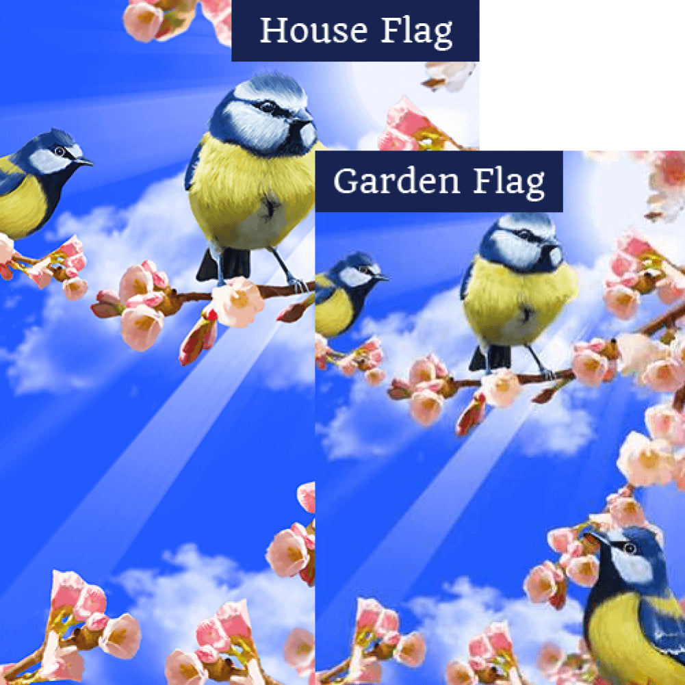 Spring Sunshine and Bluebirds Flags Set (2 Pieces)