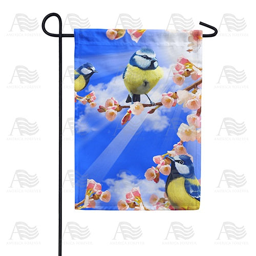 Spring Sunshine and Bluebirds Double Sided Garden Flag