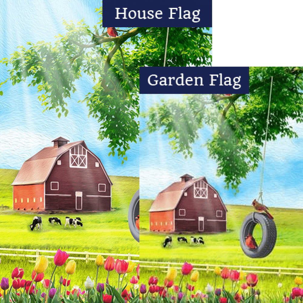 Spring Farm Swing and Tulips Flags Set (2 Pieces)