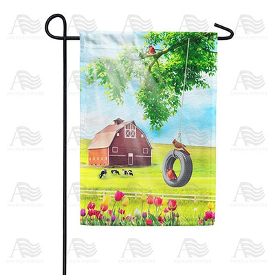 Spring Farm Swing and Tulips Double Sided Garden Flag
