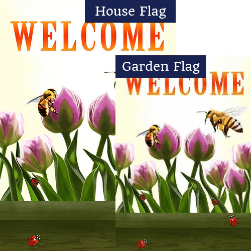 Welcome Spring Bees and Tulips Flags Set (2 Pieces)