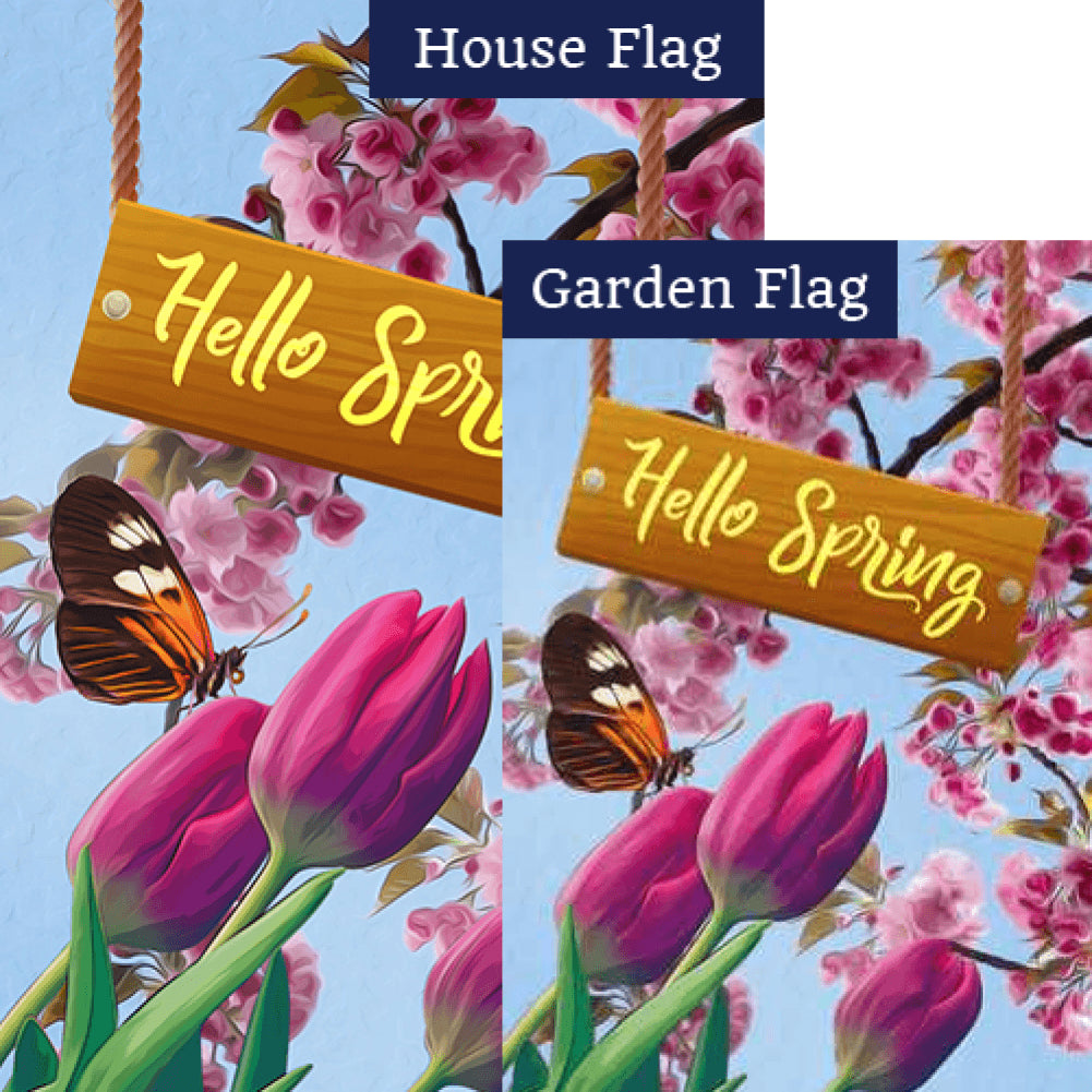 Hello Spring Tulips Flags Set (2 Pieces)