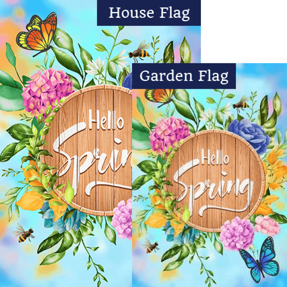 Hello Spring Wooden Board Flags Set (2 Pieces)