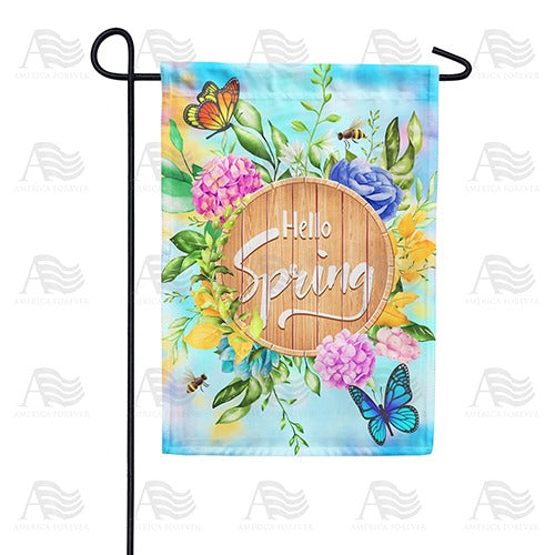 Hello Spring Wooden Board Double Sided Garden Flag