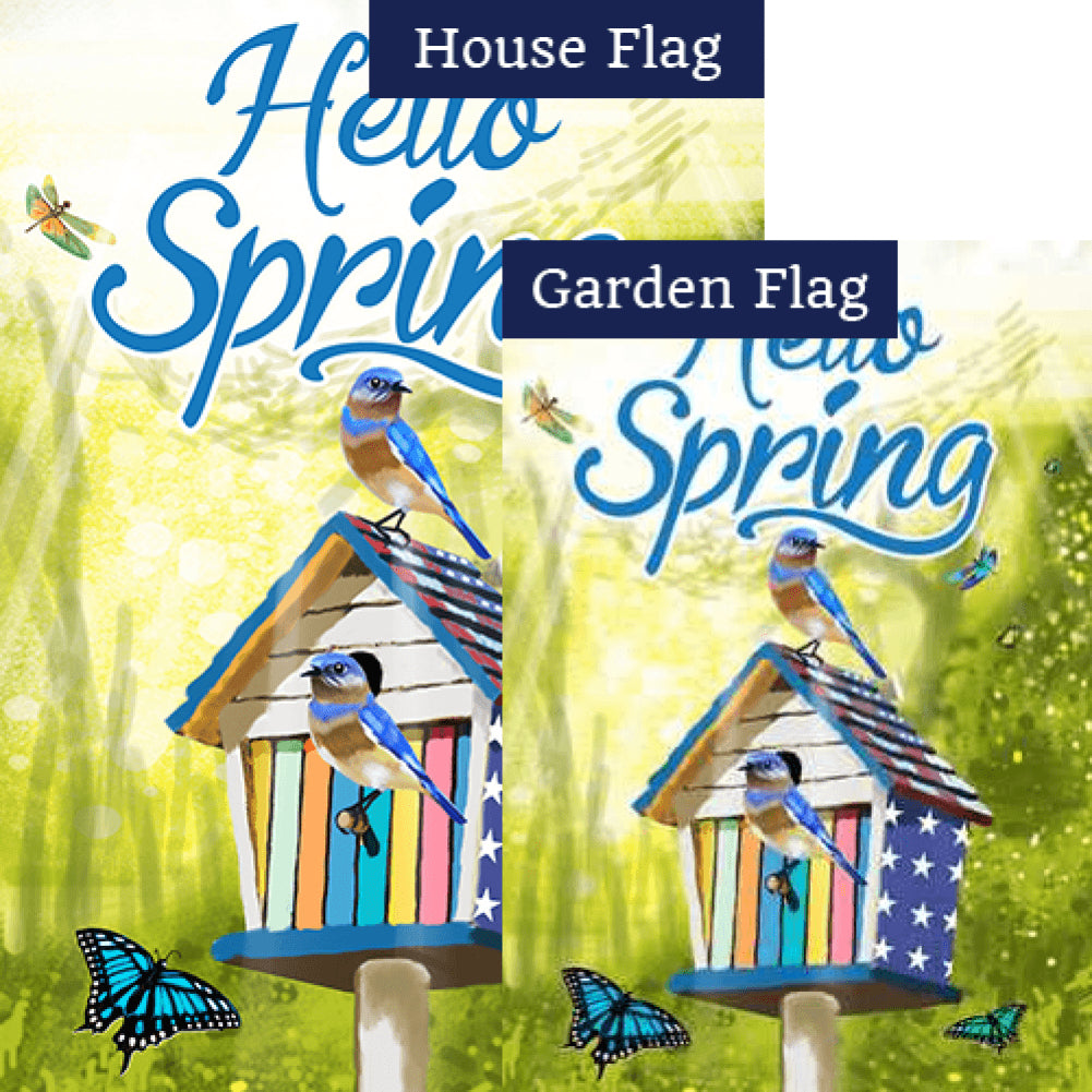 Hello Spring Patriotic Birdhouse Flags Set (2 Pieces)