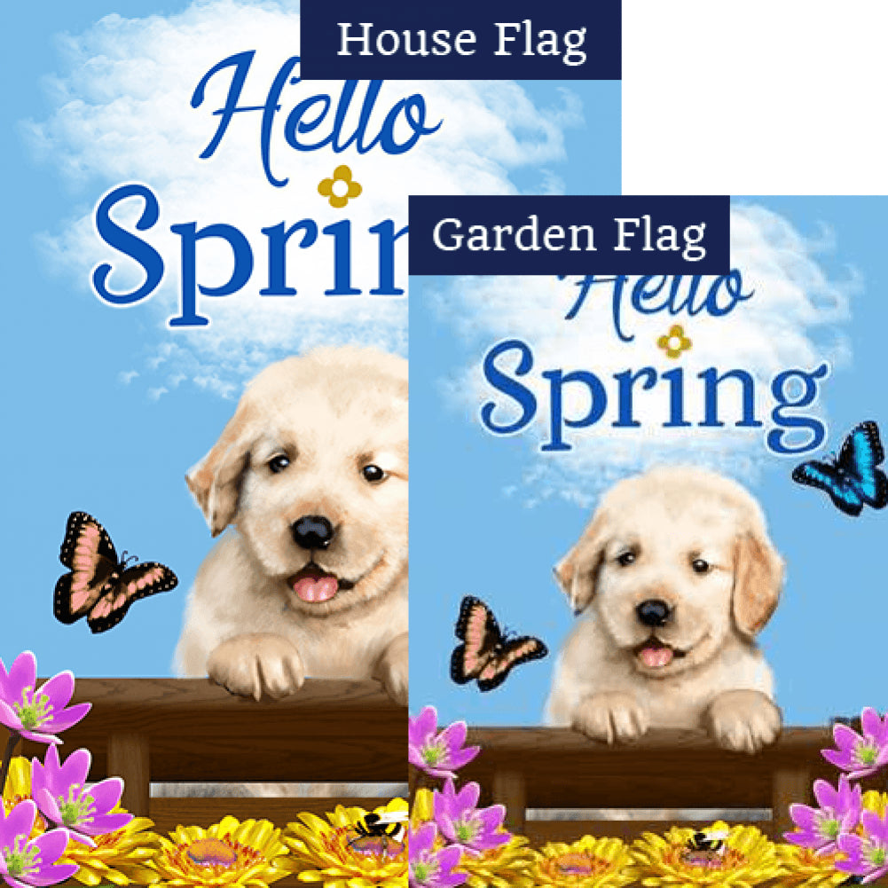 Spring Labrador Puppy Flags Set (2 Pieces)