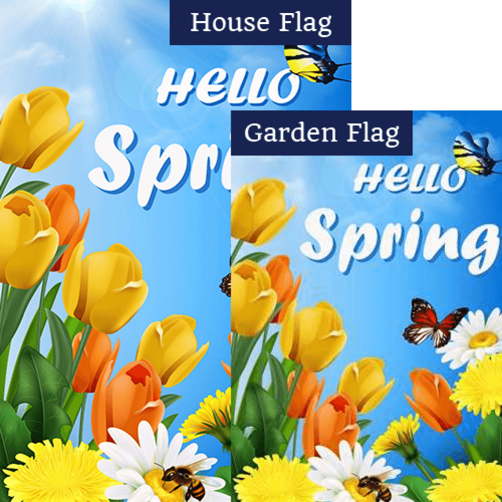 Hello Spring Sunshine Flags Set (2 Pieces)