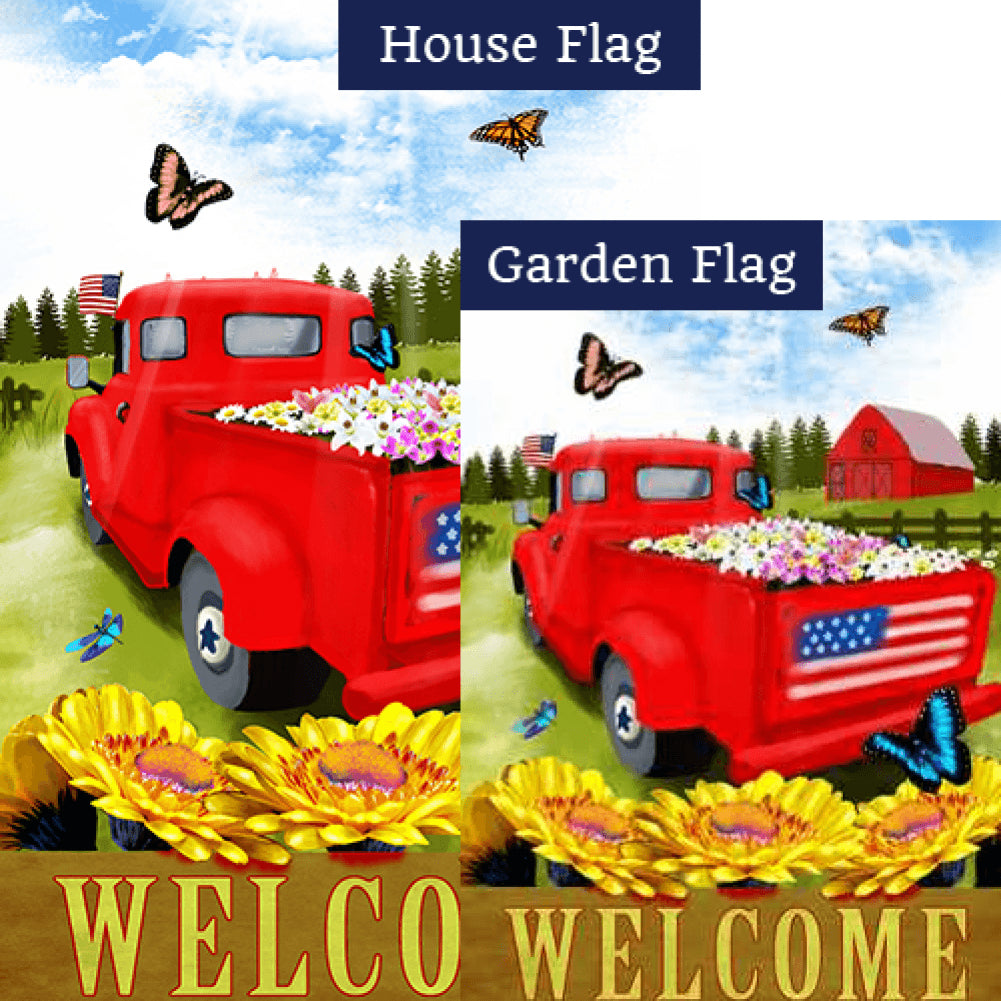 Red Truck Welcome Patriotic Flags Set (2 Pieces)