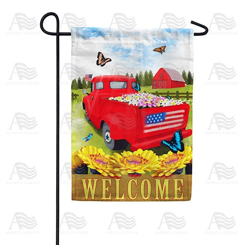 Red Truck Welcome Patriotic Double Sided Garden Flag