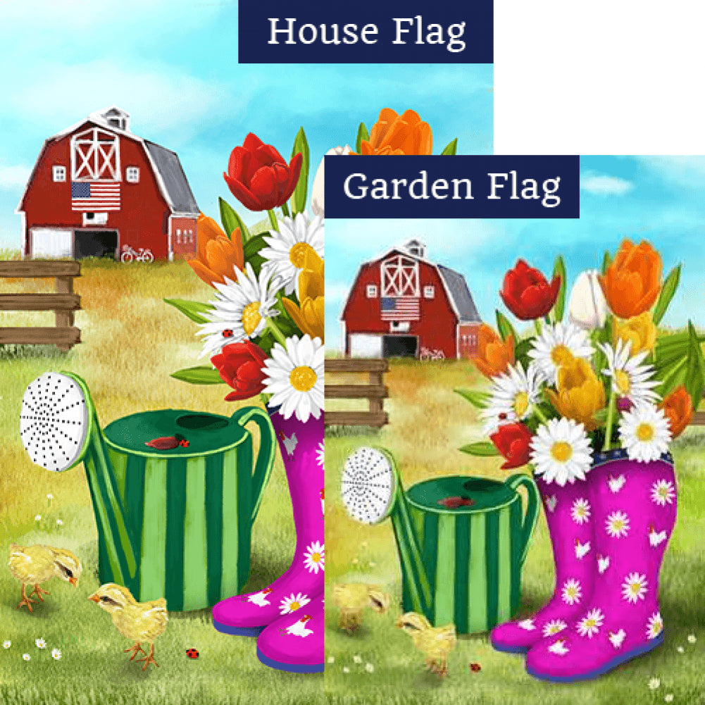 Spring Boots and Watering Can Flags Set (2 Pieces)