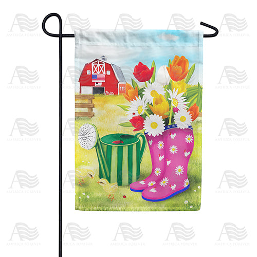 Spring Boots and Watering Can Double Sided Garden Flag