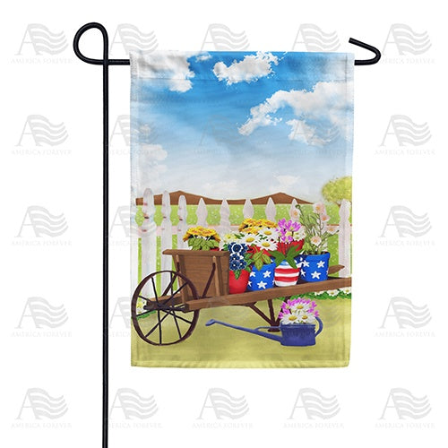 Spring Flowers Wheelbarrow Double Sided Garden Flag