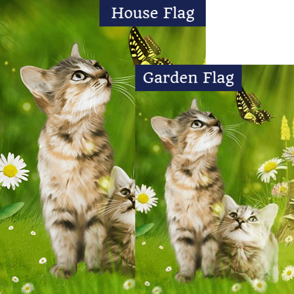 Spring Tabby Kittens Flags Set (2 Pieces)