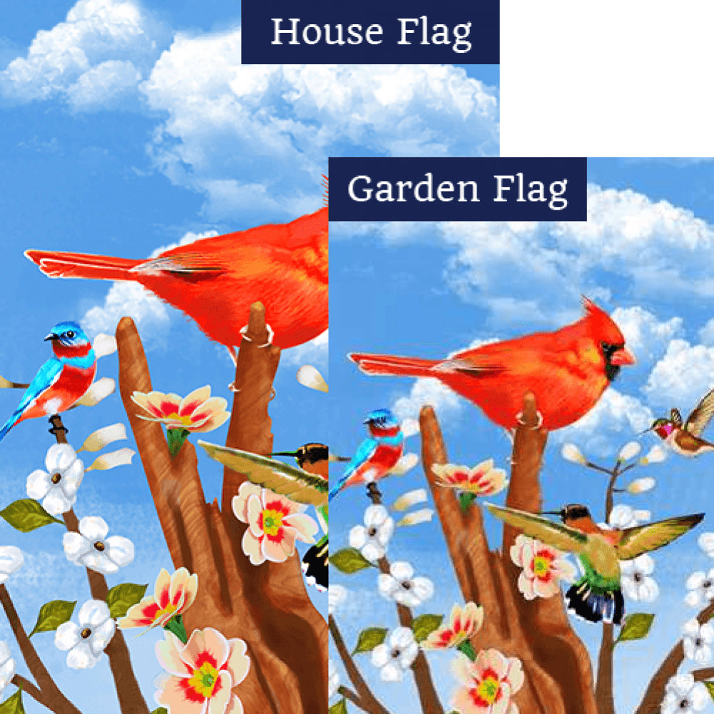 Red Spring Cardinal Flags Set (2 Pieces)