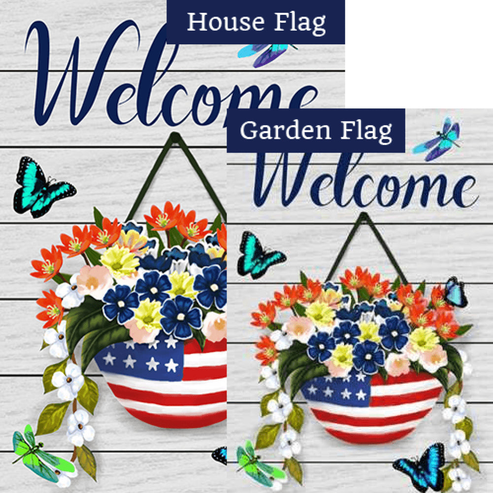 Welcome American Spring Butterflies Flags Set (2 Pieces)