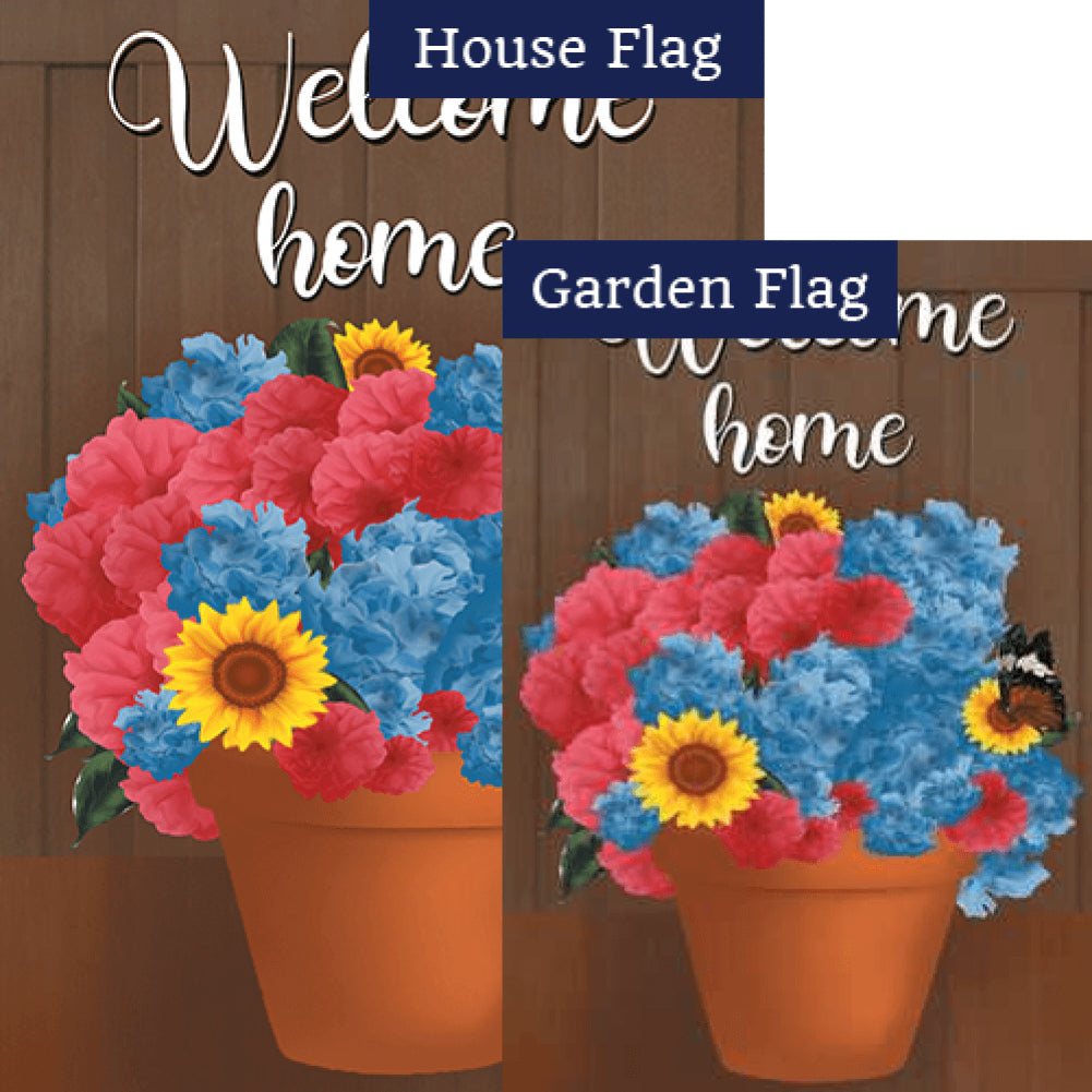 Welcome Spring Flower Pot Flags Set (2 Pieces)