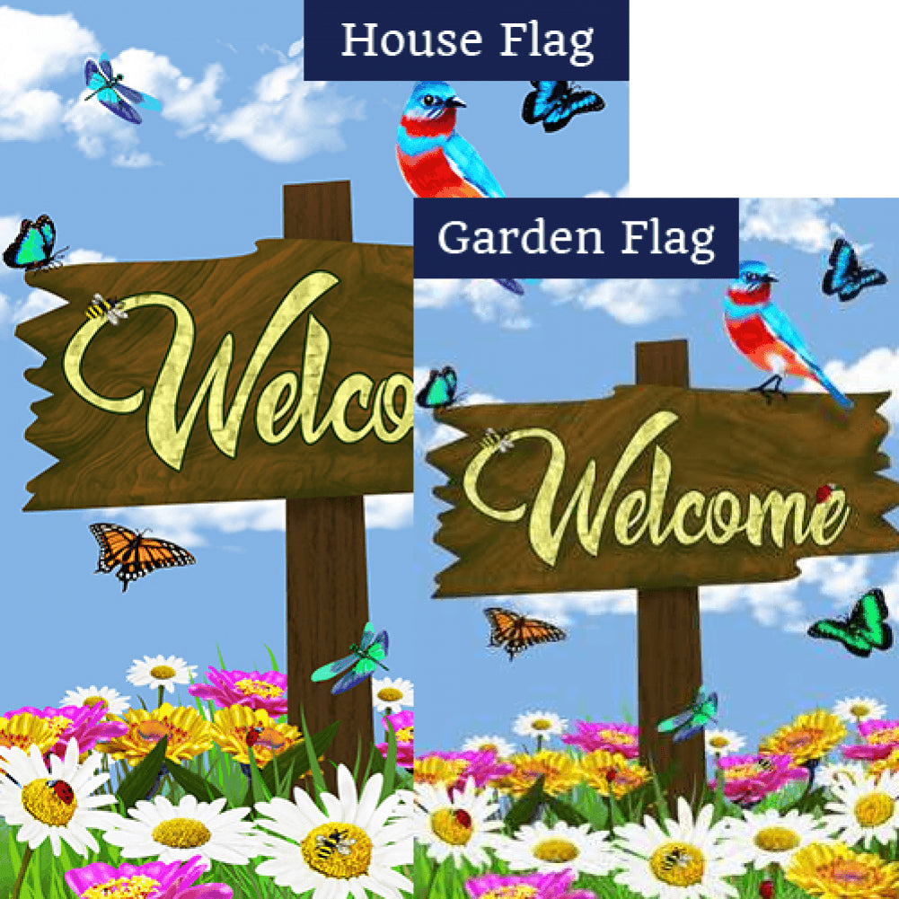 Welcome Spring Sign Flags Set (2 Pieces)