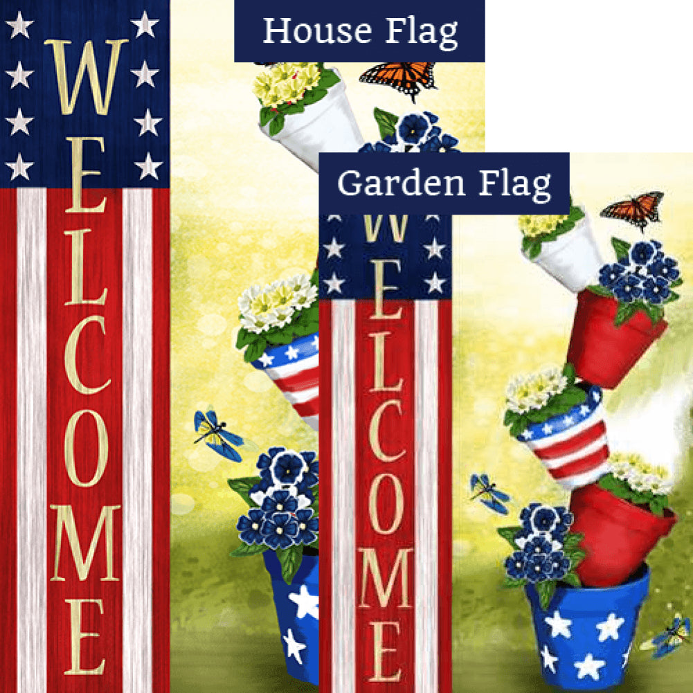 Patriotic Spring Welcome Flags Set (2 Pieces)