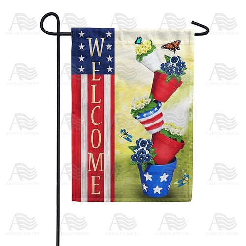 Patriotic Spring Welcome Double Sided Garden Flag