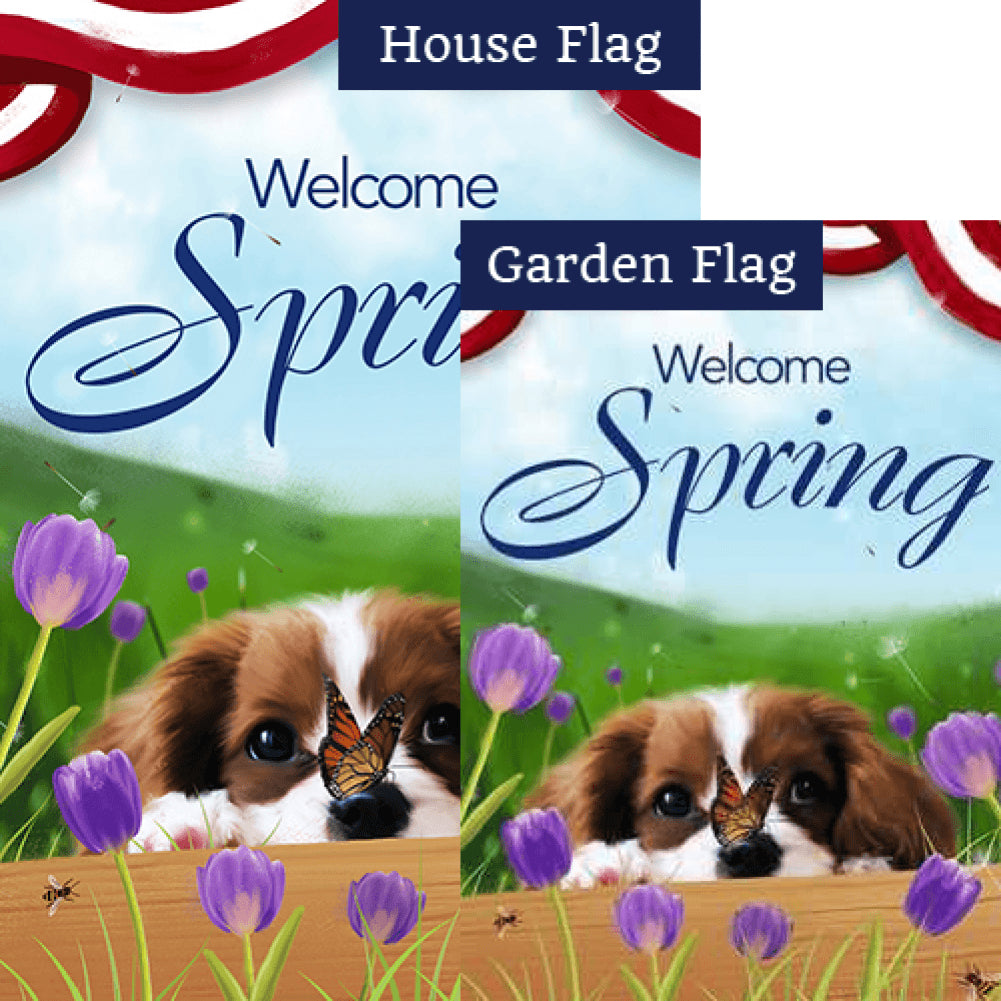 Spring Charles Spaniel Flags Set (2 Pieces)