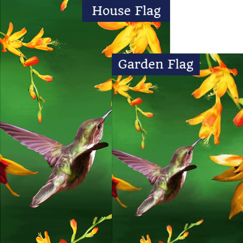 Hummingbird and Yellow Flowers Flags Set (2 Pieces)