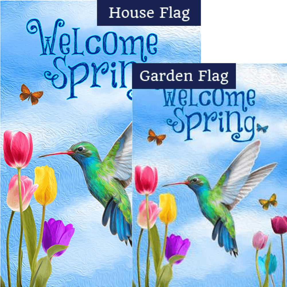 Spring Hummingbird and Tulips Flags Set (2 Pieces)