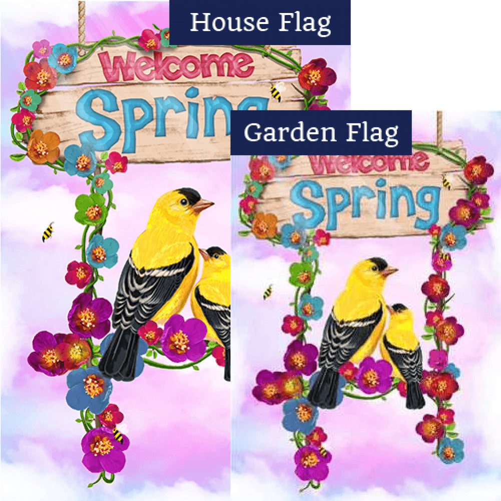 Welcome Spring Yellow Finches Flags Set (2 Pieces)