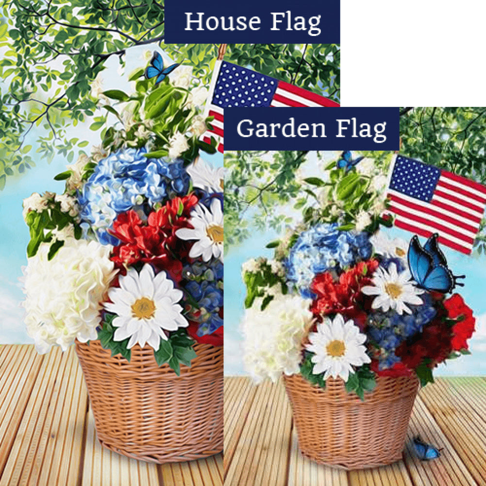 Red White And Blue Blooms Flags Set (2 Pieces)
