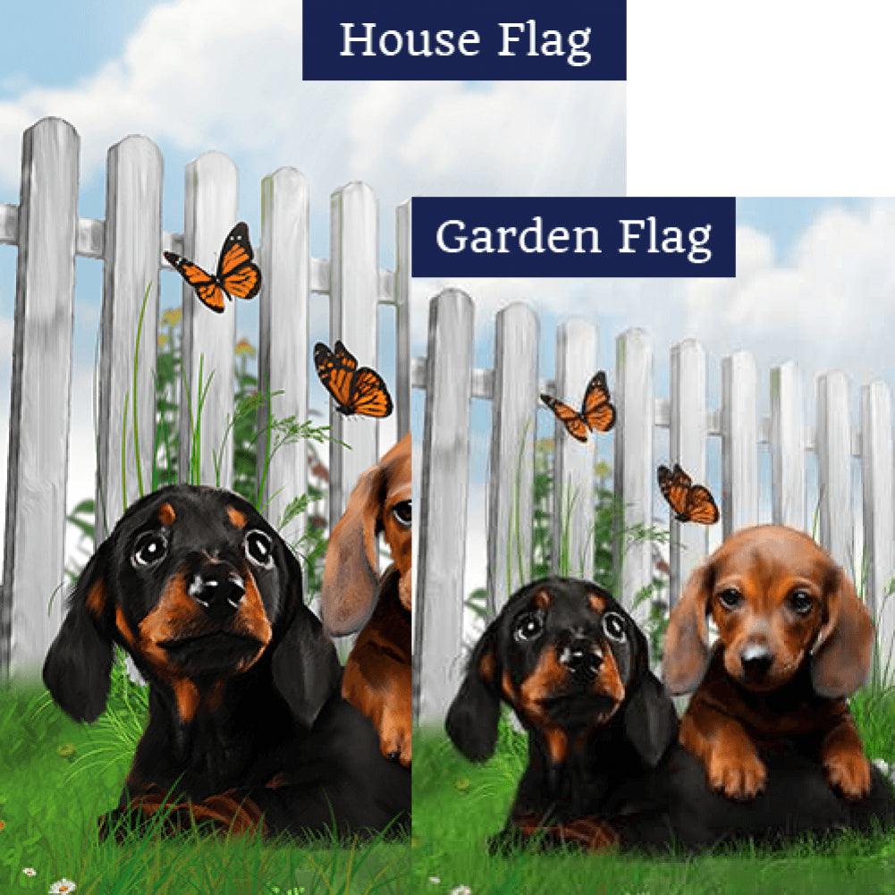 Darling Dachshund Pups Flags Set (2 Pieces)