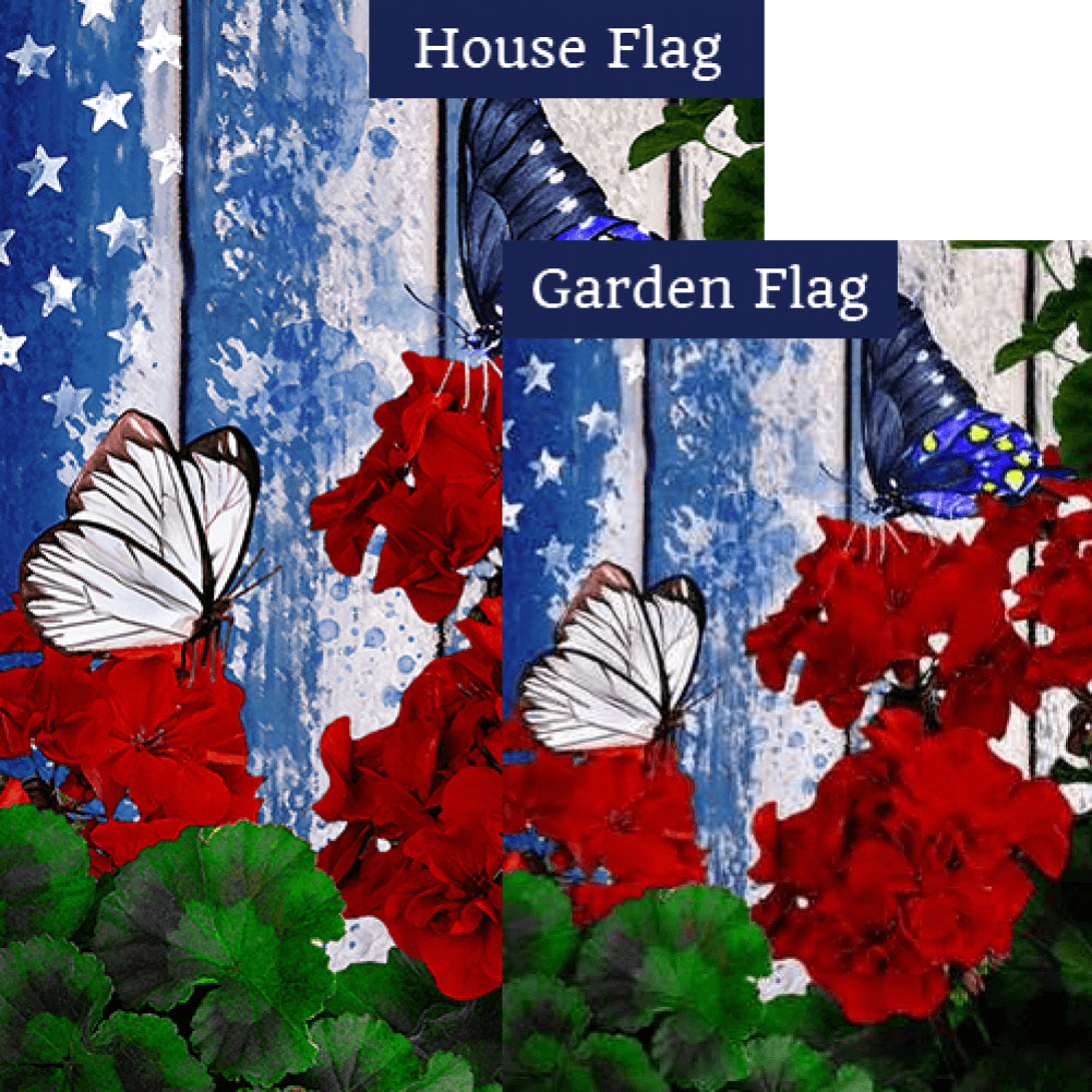 Patriotic Geraniums Butterfly Flags Set (2 Pieces)
