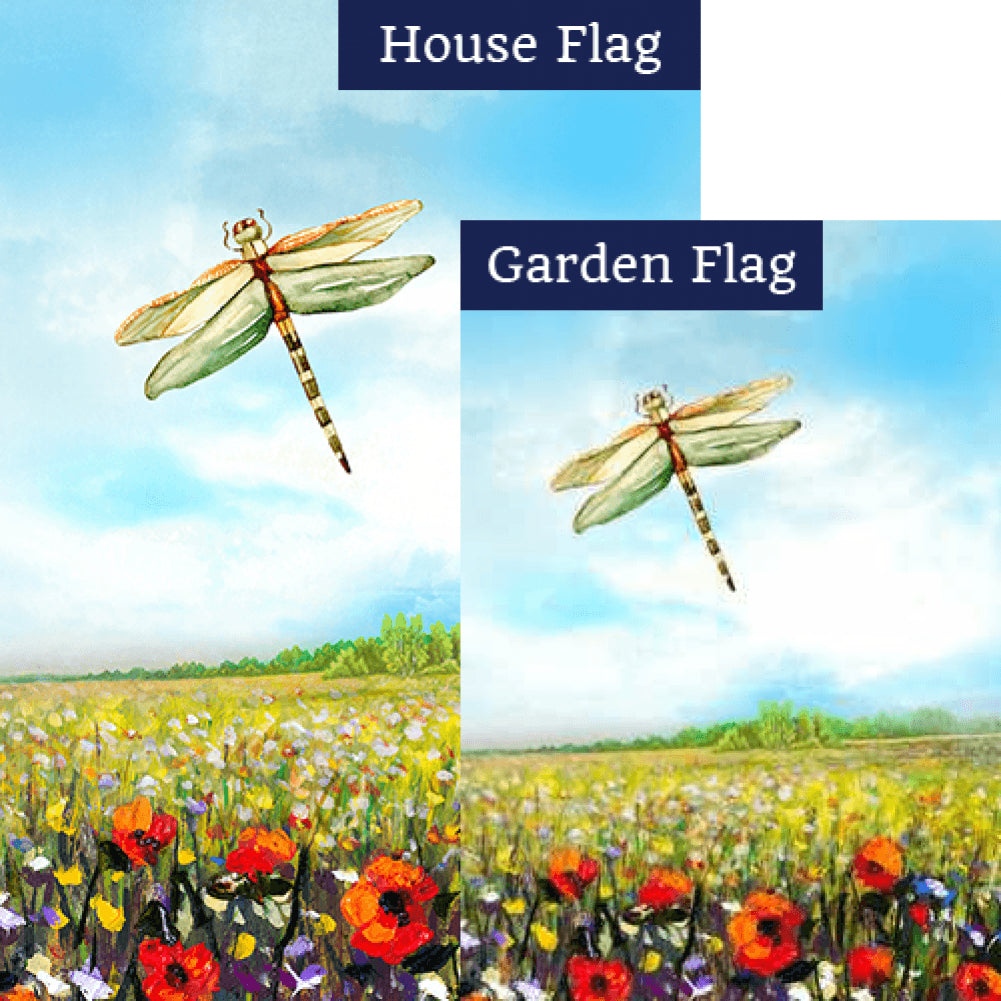 Dragonfly Flowers Flags Set (2 Pieces)