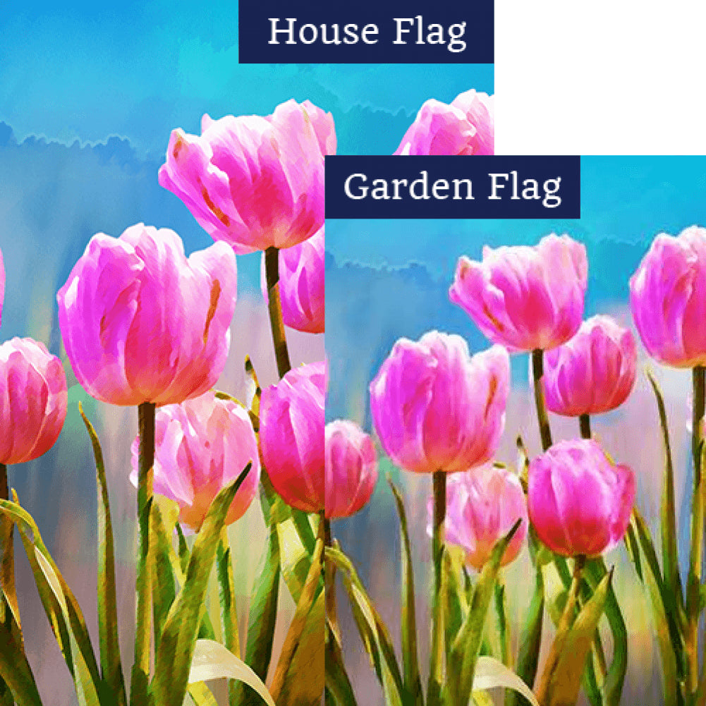 Pink Tulips Watercolor Flags Set (2 Pieces)