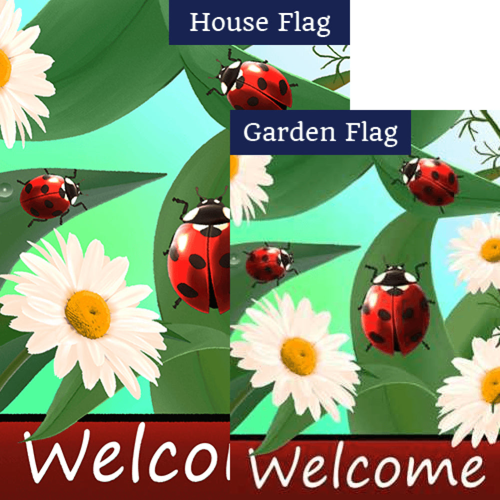 Ladybugs And Daisies Welcome Flags Set (2 Pieces)